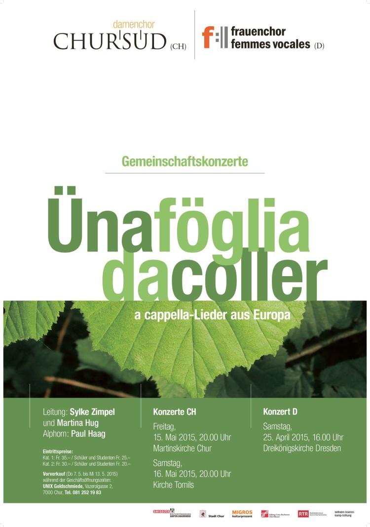 Damenchor Chursüd   Plakat «Üna föglia da coller 2015»