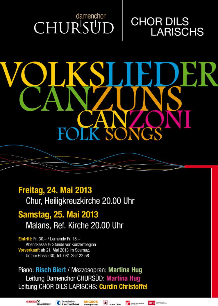 Damenchor Chursüd & Männerchor dils Larischs  Plakat «Volkslieder 2011»